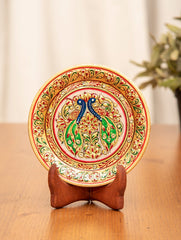 Marble Painted Decorative Plate with Stand - Ornate Peacocks (Small)
