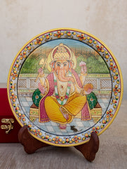 Marble Painted Decorative Plate with Stand - Lord Ganesha (Large)