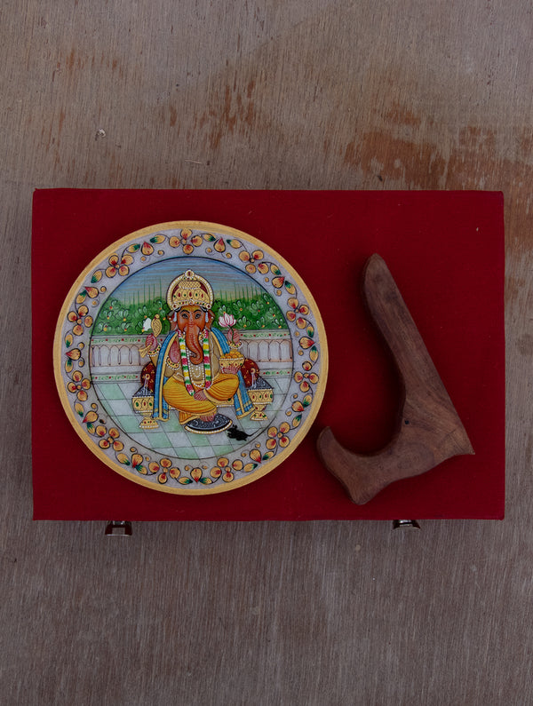 Marble Painted Decorative Plate with Stand - Lord Ganesha (Small) - The India Craft House