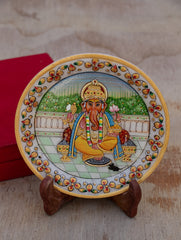 Marble Painted Decorative Plate with Stand - Lord Ganesha (Small)