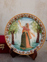 Marble Painted Decorative Plate with Stand - Woman in Forest (Large)