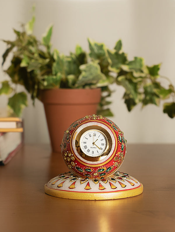 Marble Painted Round Clock with Base - The India Craft House