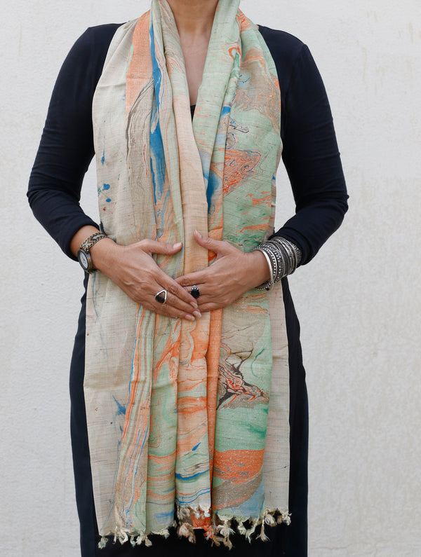 Marble Printed Poly Art  Silk Stole - The India Craft House