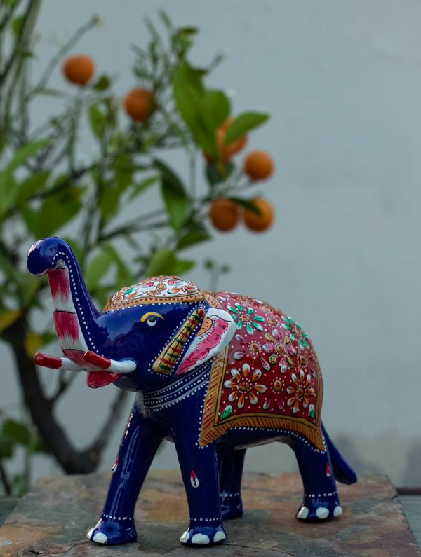 Meenakari Art Curio - Elephants, Large - The India Craft House