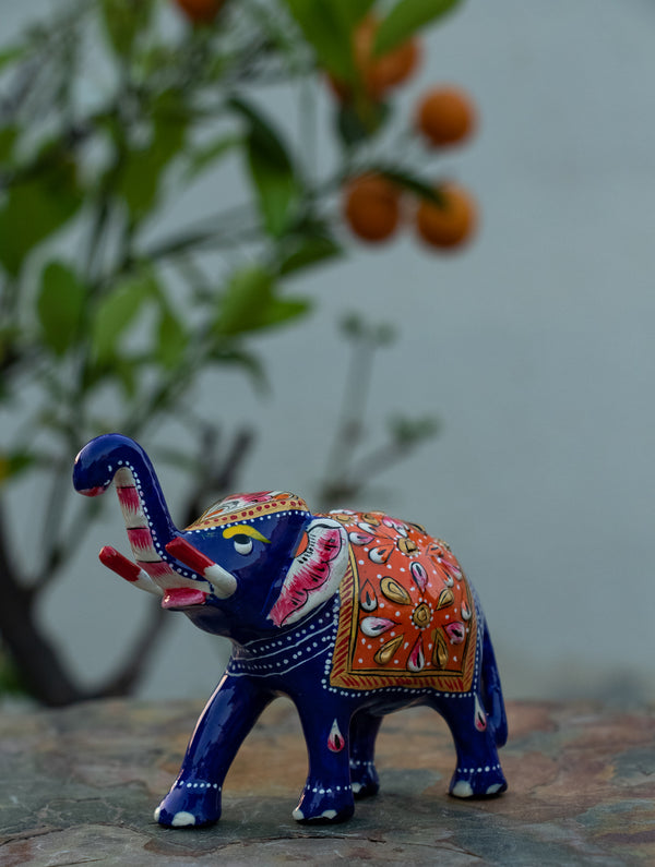 Meenakari Art Curio - Elephants, Small - The India Craft House