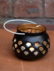 Metal Filigree Tealight Holder - Black