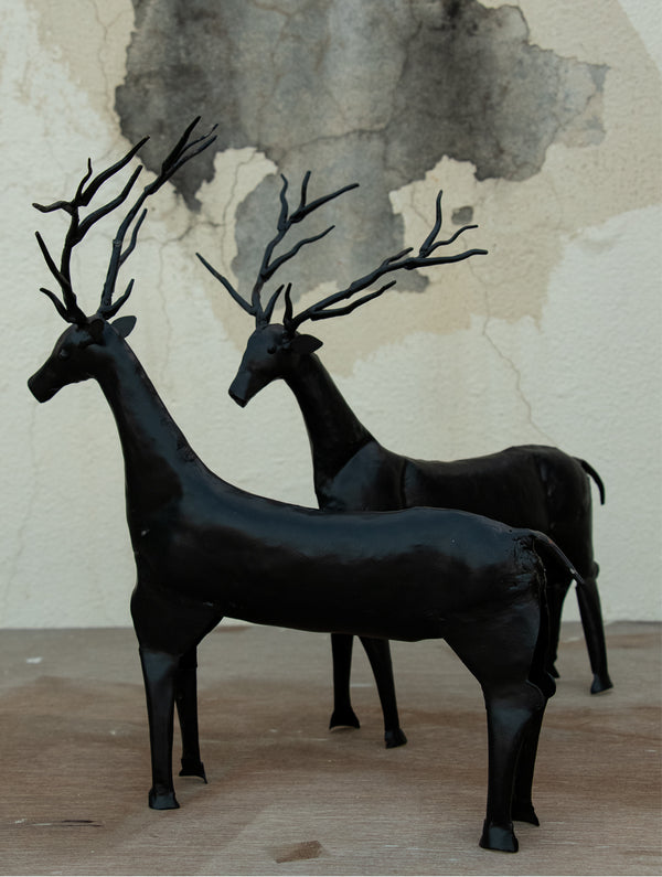 Metal Craft Deers Curio - Large (Set of 2) - The India Craft House