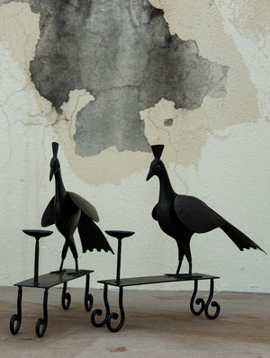 Metal Craft Peacock Candle Stand - Large (Set of 2)