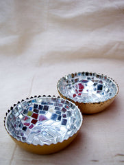 Metal with Glass Mosaic Tealight Holders (Set of 2)