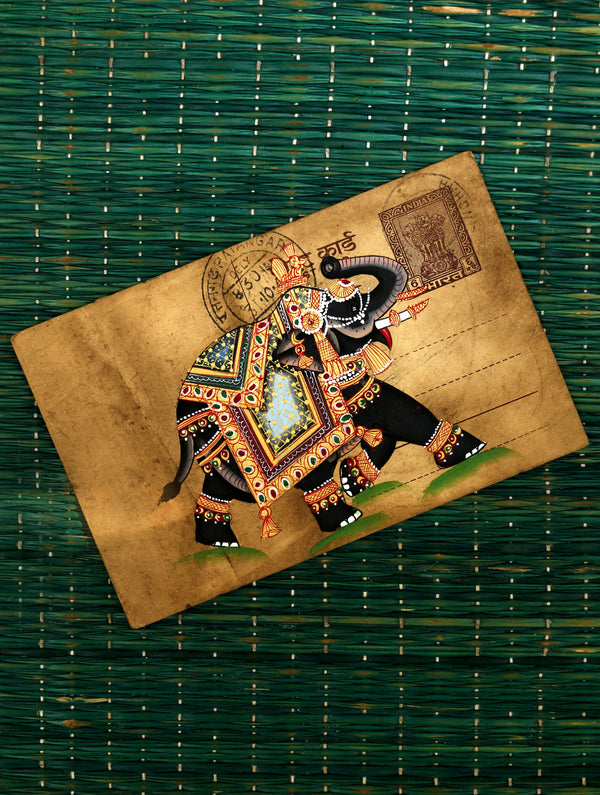 Miniature Art on Antique Post Card - The India Craft House
