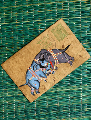 Miniature Art on Antique Post Card
