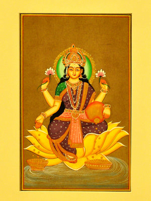 Miniature Art on Paper with Mount - Goddess Laksmi. Unframed