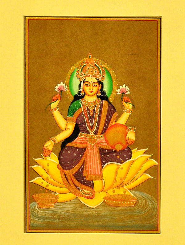 Miniature Art on Paper with Mount - Goddess Laksmi. Unframed - The India Craft House