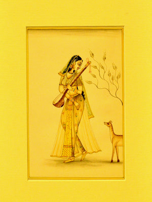 Miniature Art on Paper with Mount - Woman with Deer. Unframed - The India Craft House