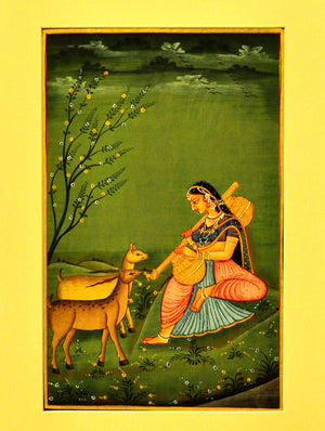 Miniature Art on Paper with Mount - Women & Deer. Unframed - The India Craft House