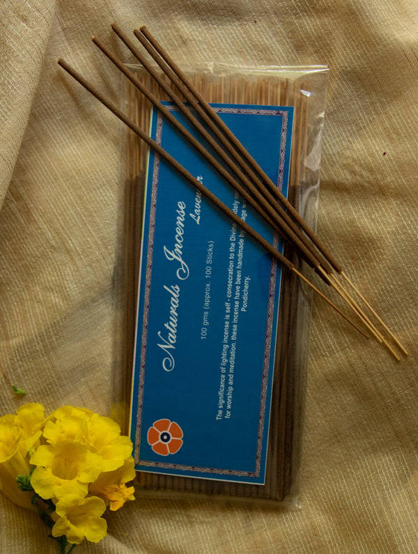 Natural Oils & Herbs Incense Sticks - Lavender (100 sticks) - The India Craft House