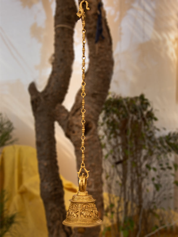 Ornate Engraved Hanging Bell - Large - The India Craft House