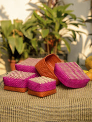Palm Leaf Utility Baskets - Set of 4, Multicoloured