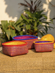 Palm Leaf Utility Baskets - Set of 3, Multicoloured