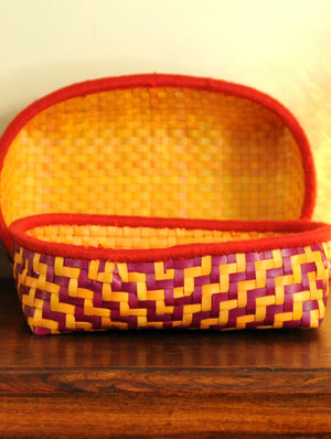 Palm Leaf Craft - Fruit Baskets, Orange & Red (Set of 2)