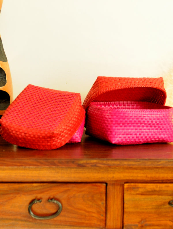 Palm Leaf Craft - Utility Baskets, Red & Pink (Set of 2) - The India Craft House