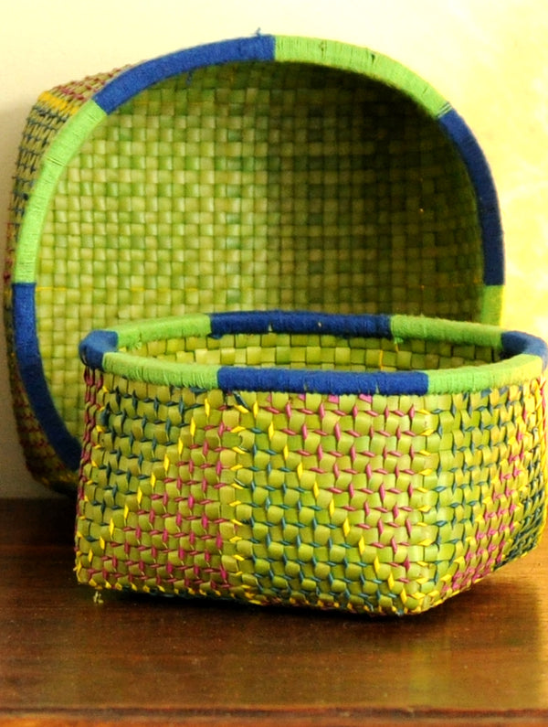 Palm Leaf Craft - Utility Baskets, Multicoloured (Set of 2) - The India Craft House