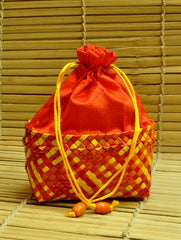 Palm Leaf & Raw Silk Potli Bag. Red & Yellow with Strings and Glass Bead Tassle. Large