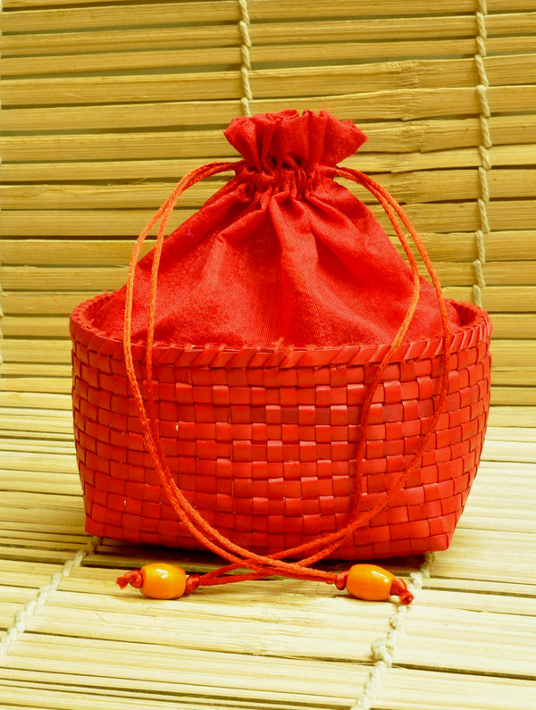 Palm Leaf & Raw Silk Potli Bag. Red with Strings and Glass Bead Tassle. Large - The India Craft House