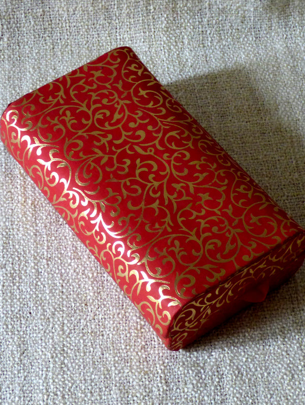 Paper Box Recentagle Red & Gold - The India Craft House