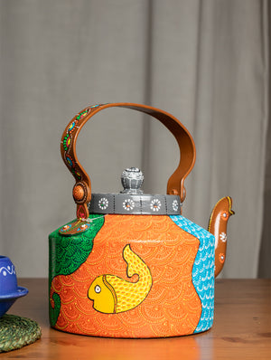 Pattachitra Art - Tin Teapot, Large - The India Craft House