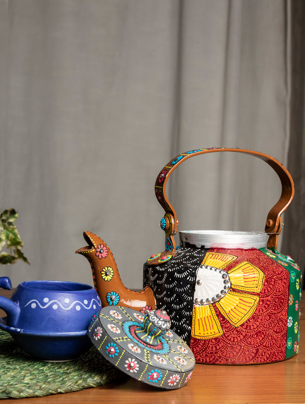 Pattachitra Art - Tin Teapot, Small - The India Craft House