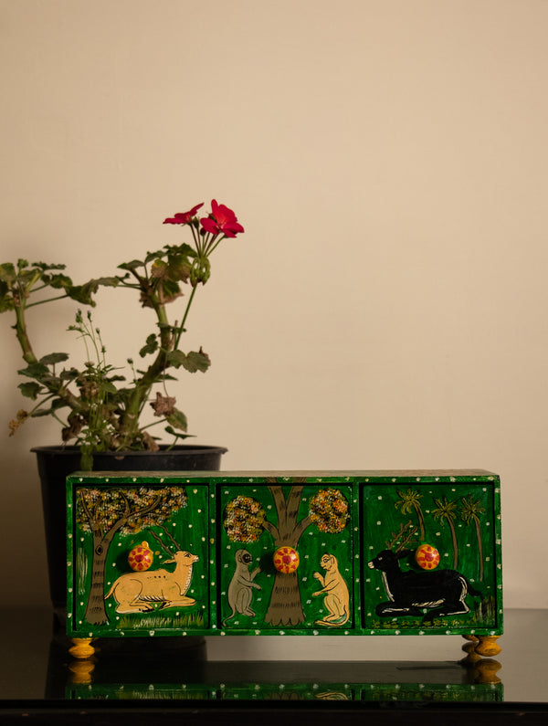Pattachitra Art - Wooden Trinket Chest with 3 Drawers