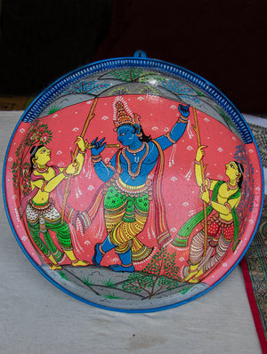 Pattachitra Art  Wall Plaque - Krishna - The India Craft House
