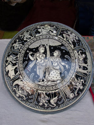 Pattachitra Art Wall Plaque - Radha Krishna - The India Craft House