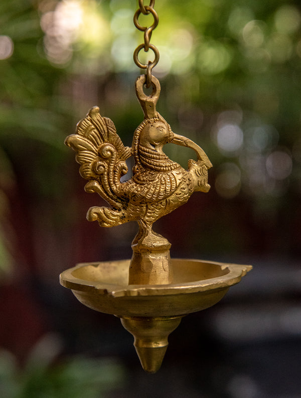 Peacock Hanging Oil Lamps - Set of 1