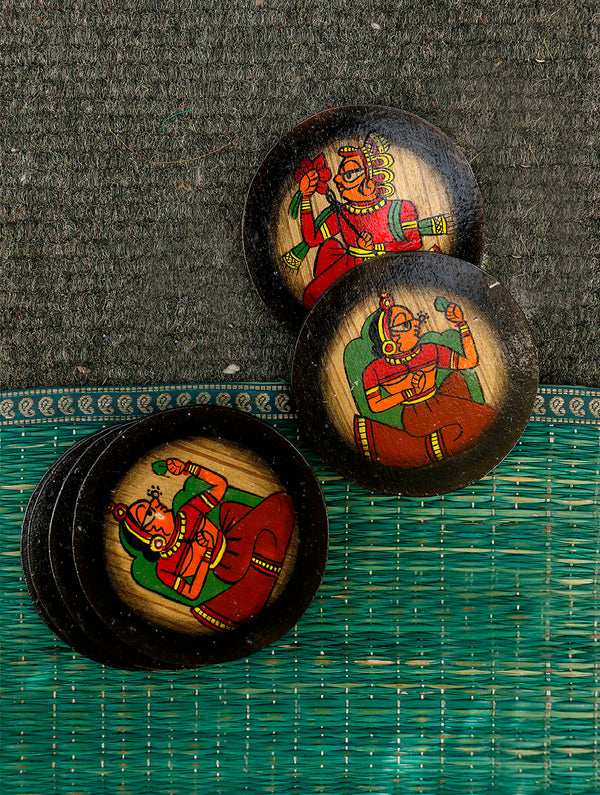 Phad Art - Coasters Round (Set of 6). - The India Craft House