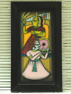Phad Art - Painting on Wood, Framed, Large, Multicoloured