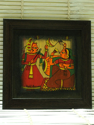 Phad Art - Painting on Wood, Framed, Medium, Multicoloured