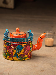 Potua Art - Hand Painted Tin Teapot Curio, Medium