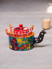 Potua Art - Hand Painted Tin Teapot Curio, Small