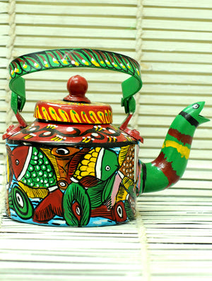 Potua Art - Tin Teapot Curio - The India Craft House