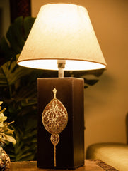 Pure Leather & Zari Lamp Base