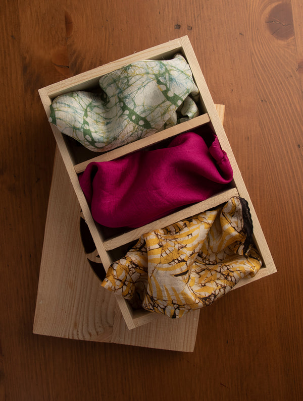 Pure Silk Batik Printed Pocket Squares with Pine Wood Box (Set of 3) - The India Craft House