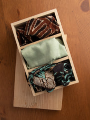 Pure Silk Batik Printed Pocket Squares with Pine Wood Box (Set of 3)