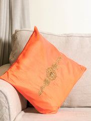 Pure Silk Zardozi Embroidered Cushion Cover - Large