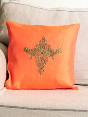 Pure Silk Zardozi Embroidered Cushion Cover - Small