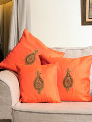 Pure Silk Zardozi Embroidered Cushion Covers - 2 Large  & 1 Small (Set of 3)