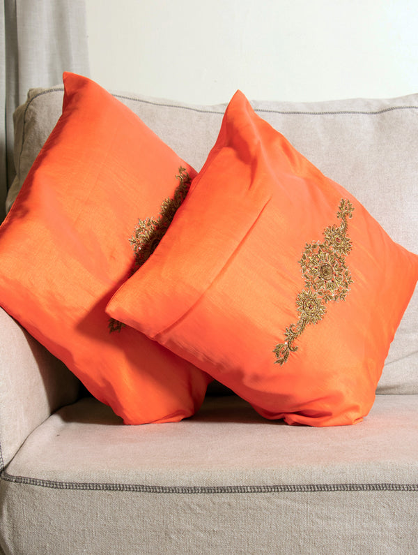 Pure Silk Zardozi Embroidered Cushion Covers - Large (Set of 2) - The India Craft House