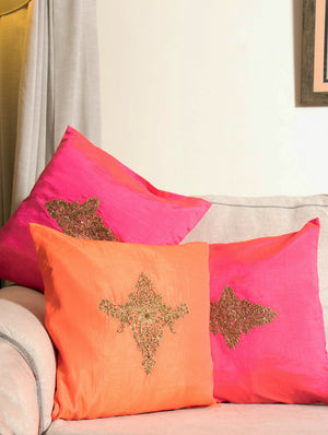 Pure Silk Zardozi Embroidered Cushion Covers - Large (Set of 3)