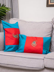 Pure Silk Zardozi Embroidered Cushion Covers - Rectangular, Large (Set of 2)